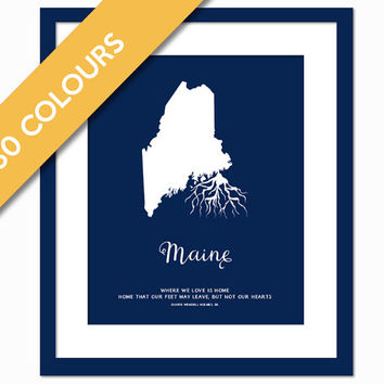 Maine Roots - State Map Art Print - Maine Map - Geography Poster - Maine Art Print - Maine Poster - Travel Art - Custom State Art Print