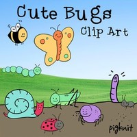 Cute Bugs Clip Art | Butterfly, Caterpillar, Bumblebee, Spider, Grasshopper
