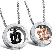 His and Hers Keep Me in Your Heart Love Cherish Black and 18K Rose Gold Plated CZ Crystal Engraved Royal Crown Titanium Steel Pendant Couple Necklaces 603 (Color: Multicolor) [7637728646]