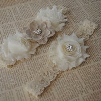 Burlap Wedding Garter- ONE GARTER ONLY, Lace Wedding Garter