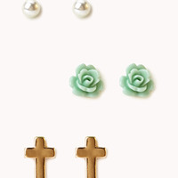 FOREVER 21 Cross & Rosette Stud Set Gold/Mint One