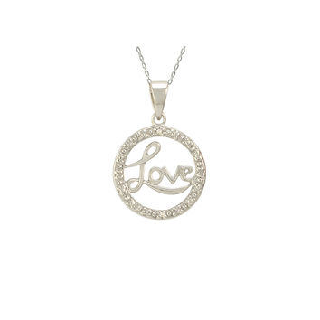 "Sterling Silver Love Necklace with Diamond Accents, 18"" (.01 cttw, I-J, I2-I3)"