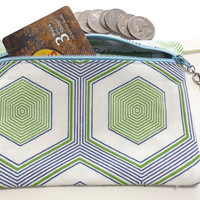 Make up bag, Blue and Lime Green Hexagon motif purse organizer, Beauty supply organizer,Cosmetic storage pouch, Coin Purse