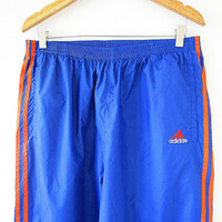 Vintage 90's ADIDAS Blue & Orange TREFOIL 3 Stripe Athletic Sportswear Streetwear Snap Warm Up Pants Sz L