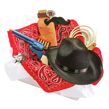 Childrens Cowboy Costume Box with Felt Mustache Hat Holster and Accessories