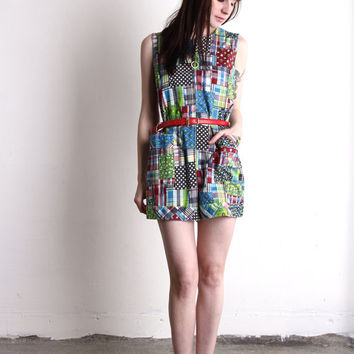 Patchwork Romper . Vintage One Piece . Boho Folk 1960s