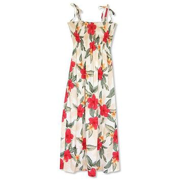 makaha cream hawaiian maxi dress