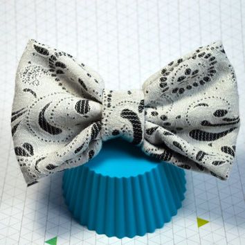 White Paisley Hair Bow, Big Hairbow, Large Hair Bow, Black and White Hair Bow, Cute Hairbow, Fabric Hair Bow, Alligator Clip Bow