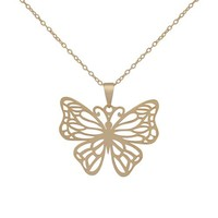 18k Yellow Gold Plated Sterling Silver Filigree Butterfly