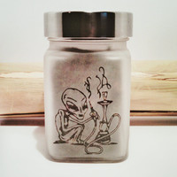 Hookah Smoking Alien Etched Glass Stash Jar - Airtight Jar - Cannabis Herb Storage
