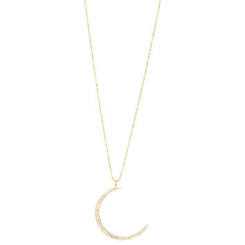 Zoe Chicco — 14k pave crescent moon necklace