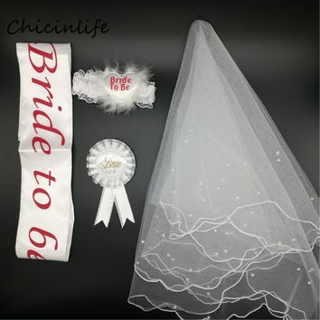 Chicinife 4pcs/lot Bride to be Sash Garter Veil Badge Bachelorette Hen Party Decoration Bride Supplies Wedding Decoration Gift