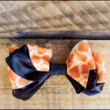 "Hair Bow, Orange, Toddler Girls, Little Girls, "" Orange Spice"",  Fall, Back To School, Hair Clip, Hair Accessory"