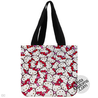 Hello Kitty Face Pink Bow, handmade bag, canvas bag, tote bag
