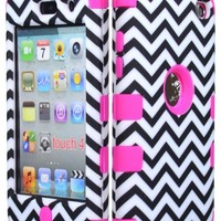 JUSTING@Black & White Chevron Pattern Hybrid Hard Case for Apple Ipod Touch 4, 4th Generation with Free Screen Protector (hot pink)