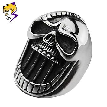 Beer Bottle Opener Gothic Skull Rings for Men Antique Silver Stainless Steel Biker Punk Ring Birthday Party Gift Jewelry