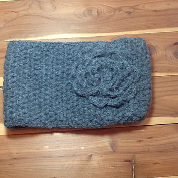 Chunky Crochet Headband with crochet flower in Oxford grey,  warm acrylic wool blend yarn, button closure, neutral color, stocking stuffer