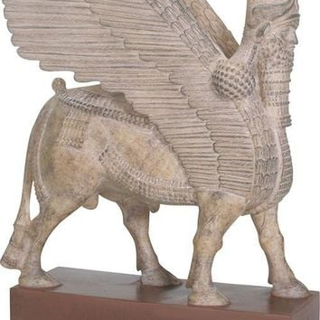 Assyrian Winged Human Headed Bull Lamassu Statue 8.5H