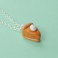 Food Miniature Pumpkin Pie Polymer Clay Necklace Food Jewelry