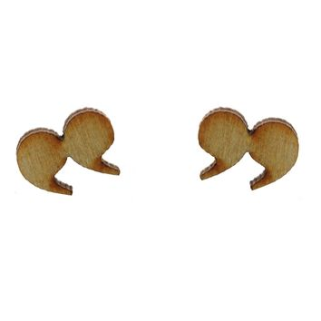 Quotation Earrings in Birch Wood