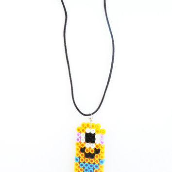 Minion Despicable Me Fuse Beads Necklace Pendant Laminated Handmade Jewelry