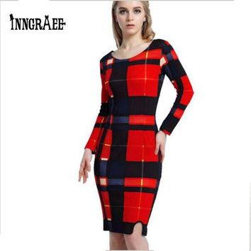 Plus size 6XL Women Pencil Dresses Floral Printed 5XL Striped Plaid Dress for Lady Work Wear Black Red Summer Vestidos NS8100