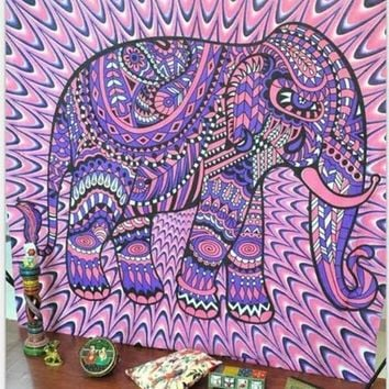 Indian Elephant Aubusson Psychedelic Tapestry Bohemian Wall Art Or Bed Spread