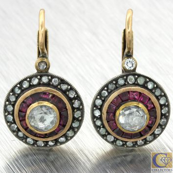 1880s Antique Victorian 14k Gold Sterling Silver 1.5ctw Ruby Diamond Earrings