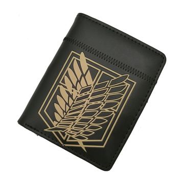 Cool Attack on Titan Anime  Wing of Liberty Zipper Purse More than 10 Types Creative Black Wallets to Choose for Collection or Cosplay AT_90_11