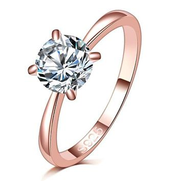 A Splendid 1.2ct Large CZ Round Cut Ring For Women In Rose Gold Tone