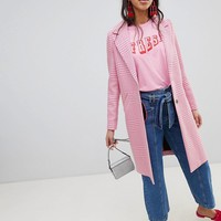 River Island Checked Car Coat at asos.com