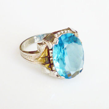 Otsby Barton Ring Sterling Silver Aquamarine Glass Art Deco Antique Jewelry