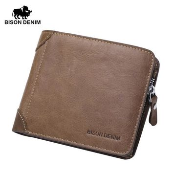 Men's Wallets  genuine leather Billfold Zipper Coin Pocket