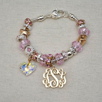 Monogram Charm on Pandora Style Bracelet. Gold mirror monogram.