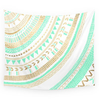 Society6 Mint + Gold Tribal Wall Tapestry