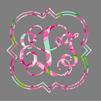 Lilly Pulitzer Quatrefoil Monogram Wall Decal