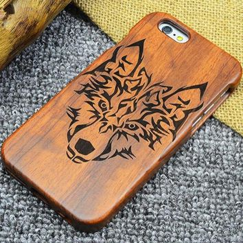 iPhone Natural Wood Case - Tribal Wolf