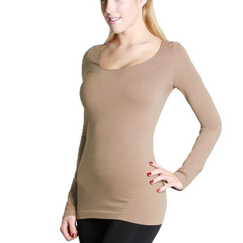 Essential Seamless Scoop Neck Top - Beige