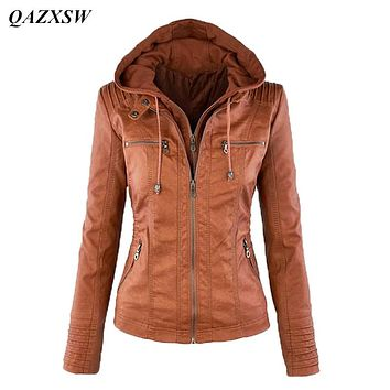 QAZXSW New Autumn Winter Women's Attachable Hooded Moto Biker Zipper Up Faux Leather Jackets PU Juniors Motorcycle Jacket YX8830