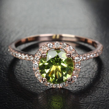 7mm Round Halo Ring Series - Peridot & Diamond Halo Engagement Ring, Aquamarine/Morganite/Topa­z/Amethyst/Garnet in14K Rose/White/Yellow Gold