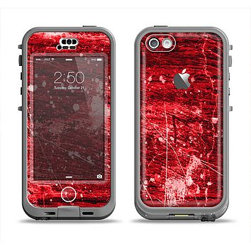 The Red Grunge Paint Splatter Apple iPhone 5c LifeProof Nuud Case Skin Set