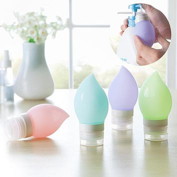 75ml Cosmetics Refillable Bottles Silicone Peach Shape Facial Cleanser Shampoo Press Containers Travel Protable Tool HJL