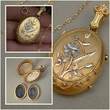 Antique VICTORIAN Locket 10K Gold Filled Dated PROVENANCE Love Token Tintype Photos Memento Mourning Jewelry 1889