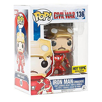 Funko POP! Marvel Captain America Civil War : Iron Man Unmasked #136 Hot Topic Exclusive Vinyl Figure