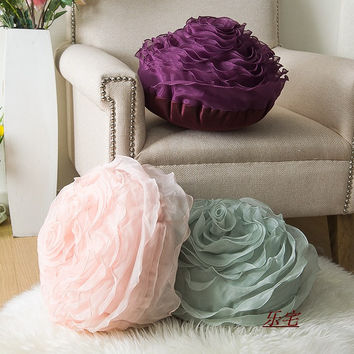 Home Decorative 3D Pillow for Sofa Married with Creative Couple  Gift PP Cotton Filling Three-dimensional Roses Soft Cushion