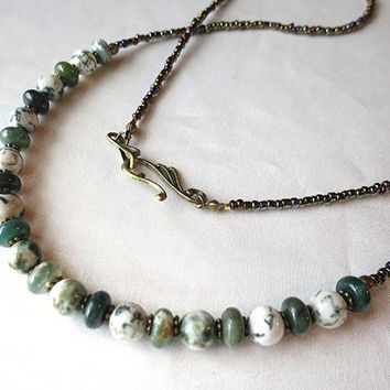Tree and moss agate, bronze & seed bead necklace. Boho, rustic, woodland jewelry. Long, length, perfect for layering. Natural green stone