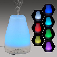 MOKOQI Essential Oil Diffuser Vaporizer,Aromatherapy Ultrasonic Cool Mist Humidifier 100ml with 7 Color LED Lights Changing and Waterless Auto Shut-off Fuction,BPA Free for Home Office Bedroom Room