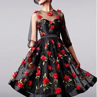 [229.99] In Stock Romantic Tulle Jewel Neckline A-Line Homecoming Dresses With 3D Flowers - dressilyme.com