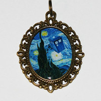 Van Gogh Starry Night TARDIS Doctor Who Pendant Necklace