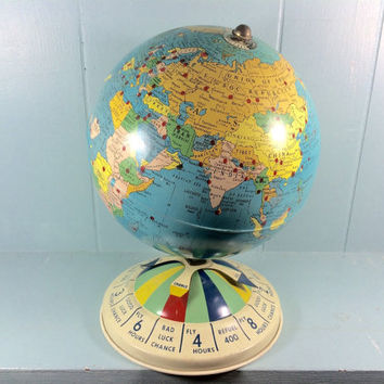 vintage 1952 Replogle Magnetic Global Air Race Game metal lithograph globe
